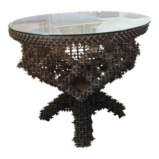 Primitive Tramp Art Crown of Thorns & Glass Top Pedestal Table