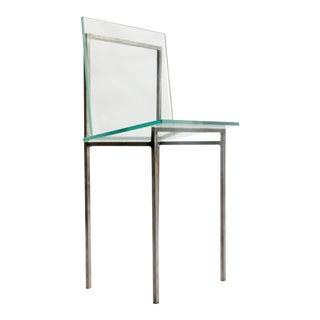 Custom Minimalist Glass and Steel Dining Accent Chairs For Sale