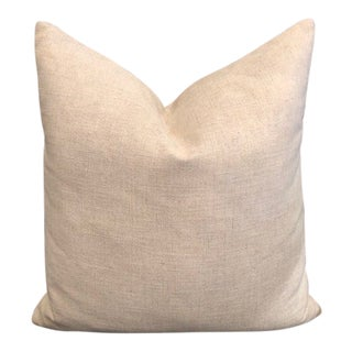 Rustic Beige Linen Pillow For Sale