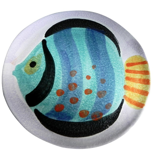 Italian Hand-Painted Fish Plate - Image 1 of 4
