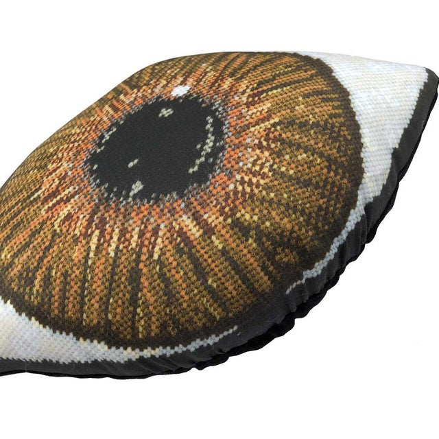 Custom Made Brown Eye Sculpted Pillow For Sale - Image 9 of 11