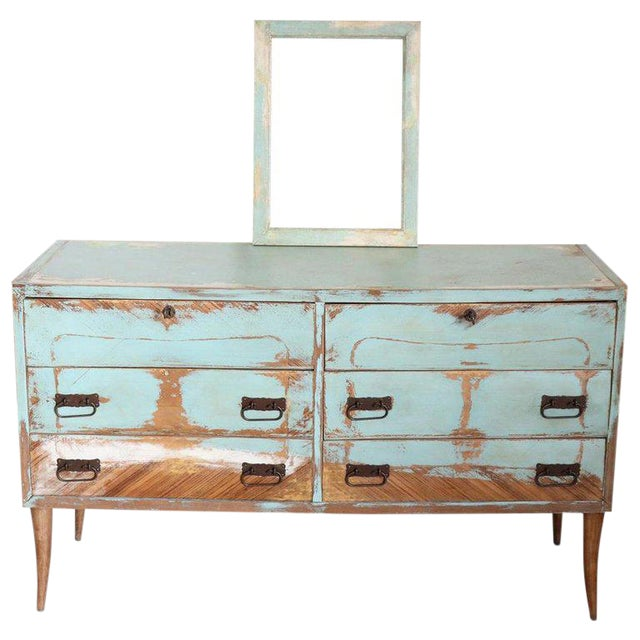 20th Century Italian Vintage Design Lacquered Commode or Chest With Frame For Sale