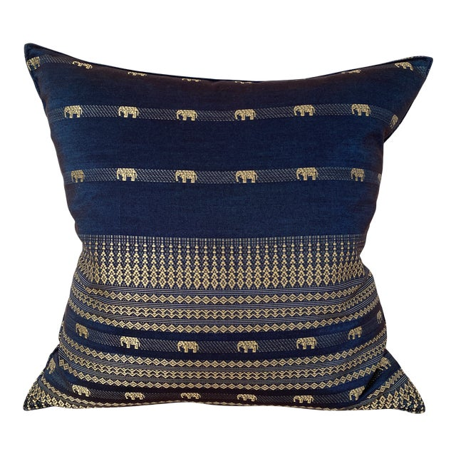 Blue Thai Silk Pillow With Elephant Motif For Sale