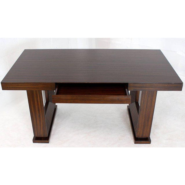 Lacquer Square Frame Legs Rosewood Mid-Century Modern Writing Table Desk For Sale - Image 7 of 9