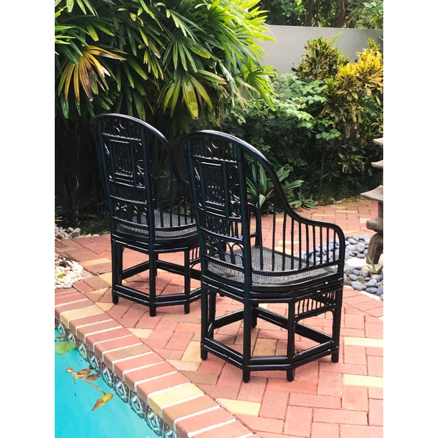 Vintage Brighton Pavilion Chinoiserie-Style Black Lacquered Bamboo and Rattan Chairs- a Pair For Sale In Miami - Image 6 of 13