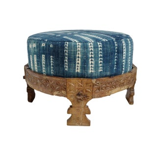 Vintage Chowki Indigo Ottoman / Stool
