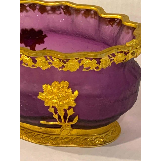 Amethyst Ormolu Mounted Baccarat Amethyst Chipped Ice Centerpiece For Sale - Image 8 of 12