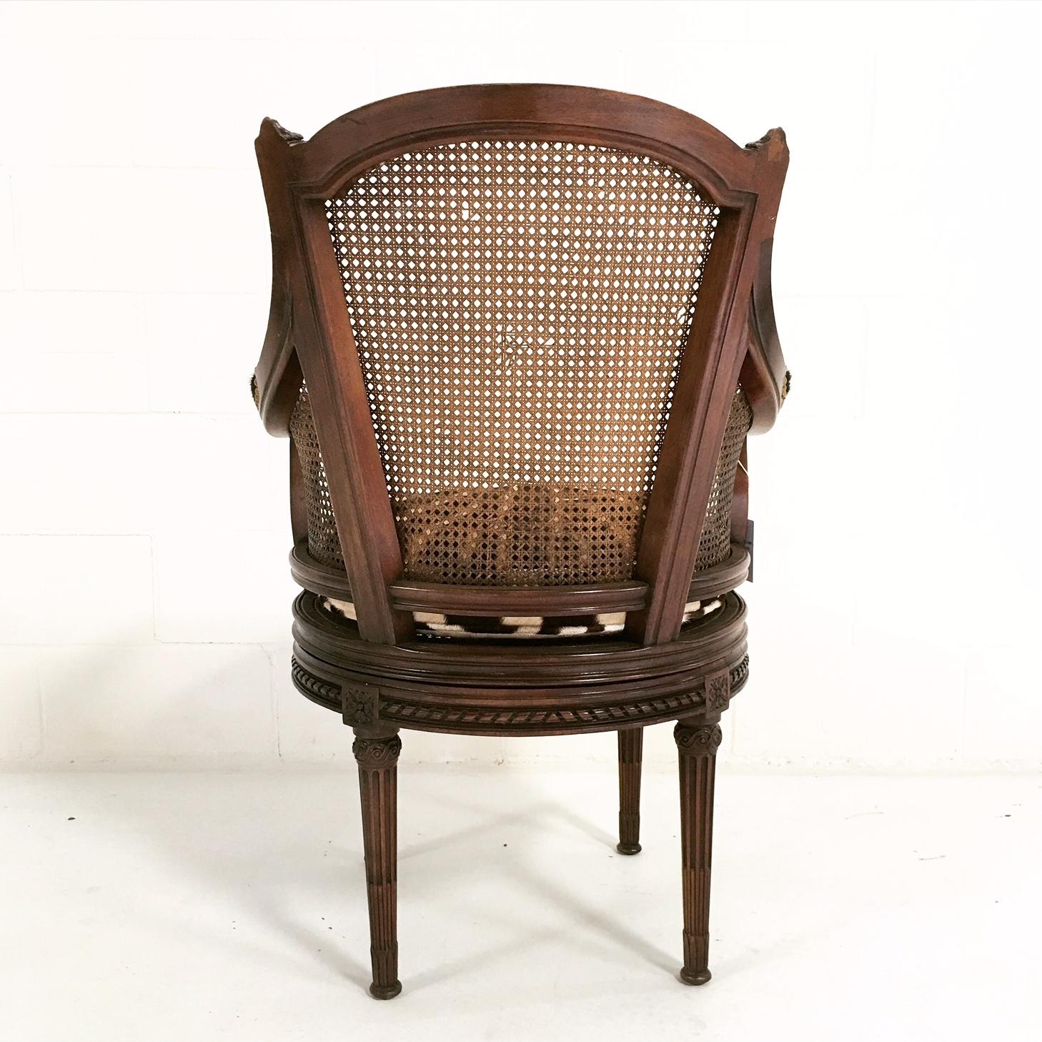 18th Century George Jacob Mahogany U0026 Cane Swivel Bergere With Custom Zebra  Cushion   Image 5