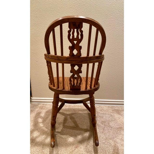 English Vintage English Windsor Oak Childrens Rocking Chair For Sale - Image 3 of 6