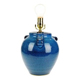 Vintage Patton Handmade Stoneware California Pottery Blue Glazed Table Lamp For Sale