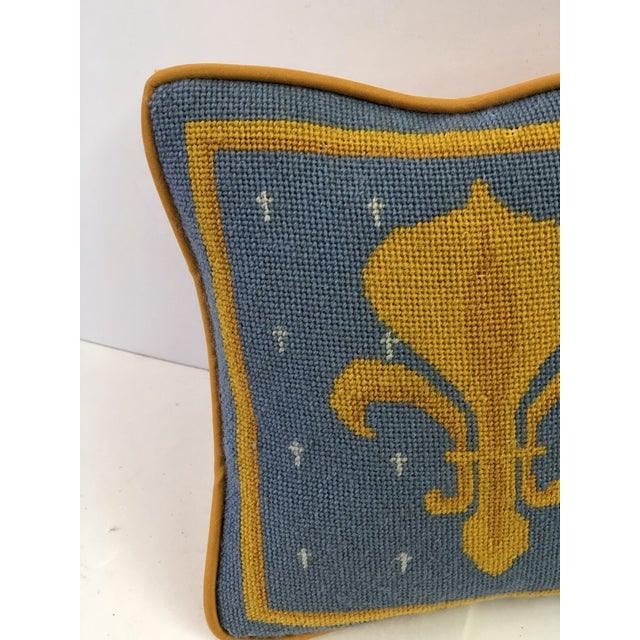 Charming French Neoclassical style handmade pillow with light blue and two-tone gold petit point stitching in a framed...