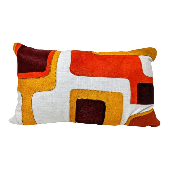 Linen and Cowhide Rectangular Pillow For Sale