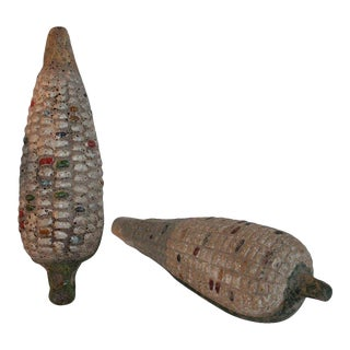 Folk Art Handmade Terracotta Corn - a Pair For Sale