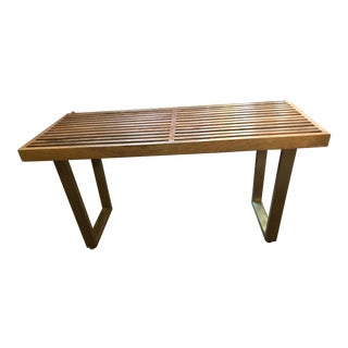 Vintage Mid Century Modern George Nelson Style Slat Bench For Sale
