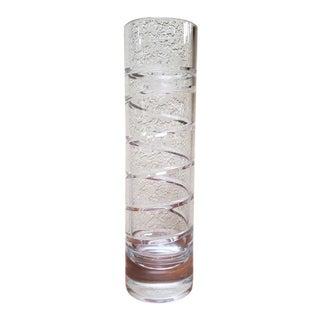 Tiffany Swirl Cut Crystal Cylindrical Vase For Sale