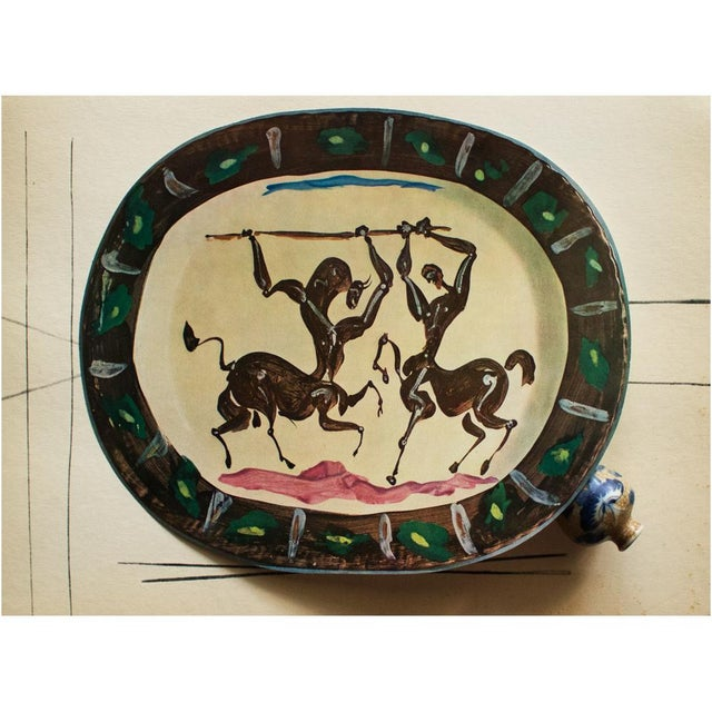 A rare exquisite original period offset lithograph of ceramic plate or charger by Pablo Picasso, depicting Satyr and...
