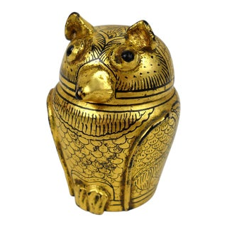 Burmese Lacquer & Gilt Horned Owl Box For Sale