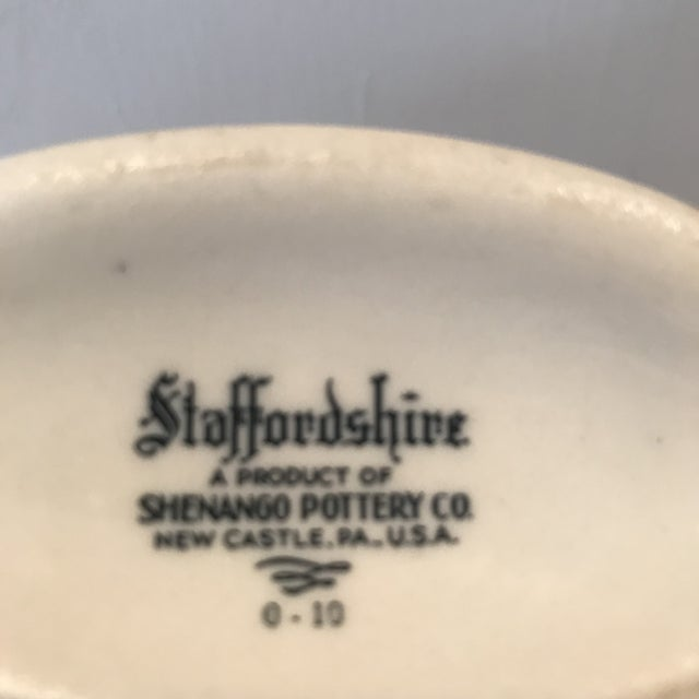 Vintage Staffordshire Shenango Pottery White Green Gravy Boat Sauce Bowl, a Pair For Sale In Phoenix - Image 6 of 7