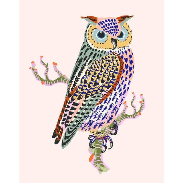 Contemporary Owl Giclée Print in Pale Pink For Sale