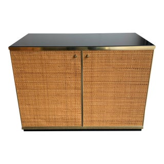 1970s Rattan and Brass Buffet by Renato Zevi For Sale
