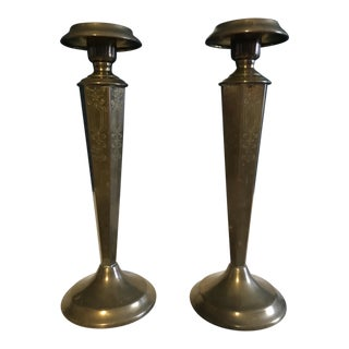 1930s Etched Bronze Finish Candle Holders - A Pair