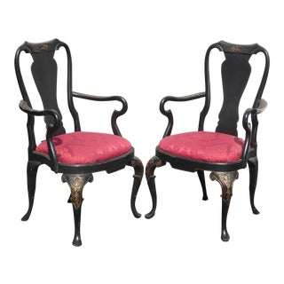 Pair of Vintage Black & Red Ornate Queen Anne Accent Arm Chairs For Sale