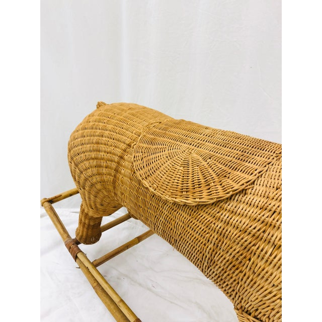 Franco Albini Vintage Wicker & Rattan Rocking Horse For Sale - Image 4 of 12