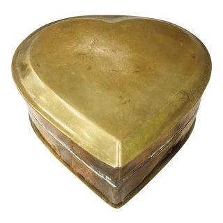 Vintage Brass Heart Container For Sale