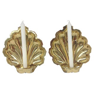 Shell-Shaped Brass Wall Sconces - A Pair