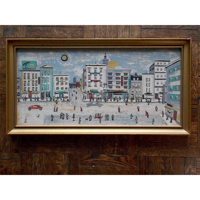 A captivating mid-century cityscape silkscreen print by Layton (unsigned but his style is unmistakeable) with a great...