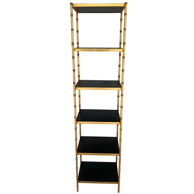 Gilt Metal & Lacquered Faux Bamboo Étagère in the Style of Maison Jansen For Sale - Image 10 of 10