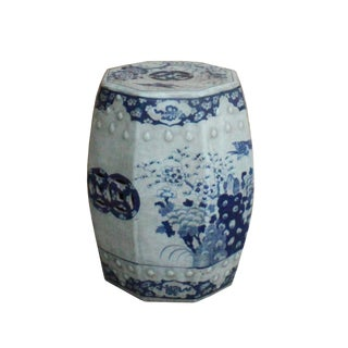 Chinese Blue & White Porcelain Scenery Octagon Stool Table For Sale