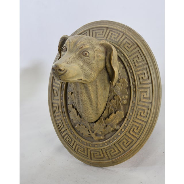 Mid 20th Century Vintage Wooden Hand-Carved Decorative Dog Head in the Middle of the 20th Century For Sale - Image 5 of 5