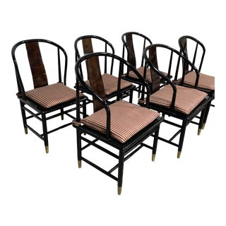 Henredon Black Lacquer Dining Chairs-Set/6 For Sale