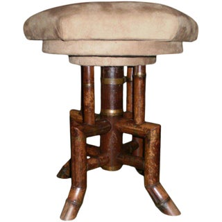 19th Century French Bamboo Swivel Stool For Sale