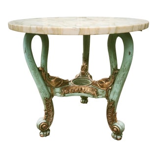 Antique Venetian Occasional Table Carved and Polychrome With Marble Top For Sale
