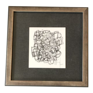 Original Vintage Wayne Cunningham Abstract Small Ink Drawing Framed For Sale