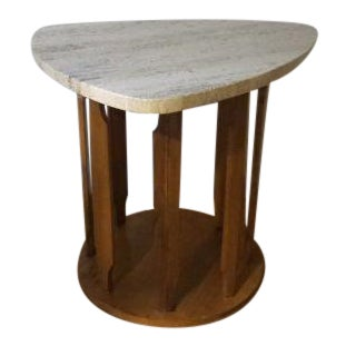 Marden Furnitre of Chicago Travertine Guitar Pick Side Table For Sale