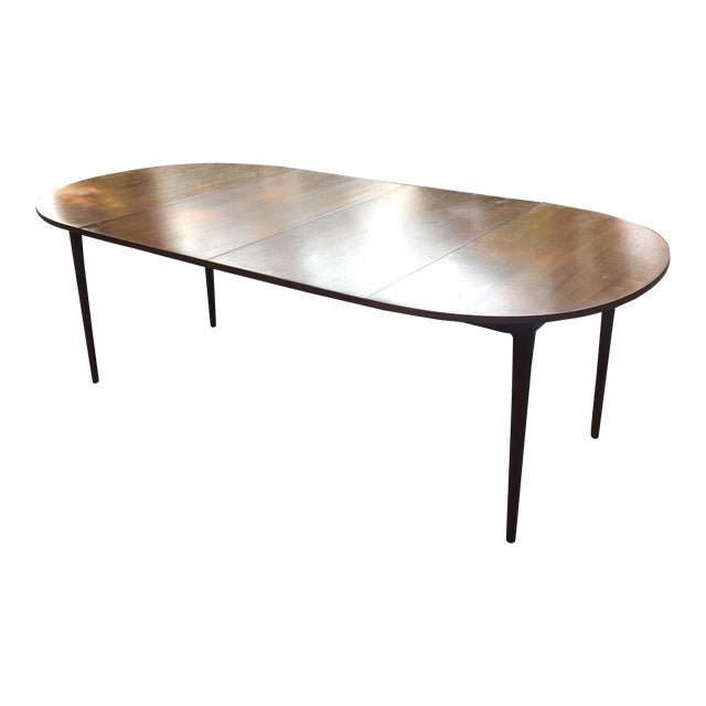 Walnut Mid Century Modern Dining Table With Two Leafs - Image 1 of 11