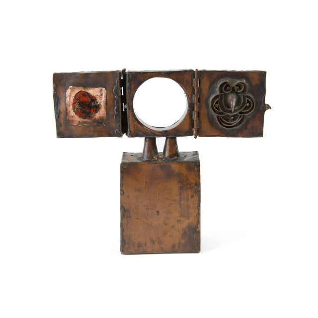 Copper Brutalist Copper Sculpture With 3-Door Top For Sale - Image 7 of 7