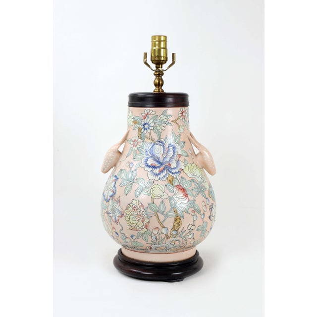 Asian Famille Rose Vase Lamp With Animal Head Handles and Flowers For Sale - Image 3 of 9