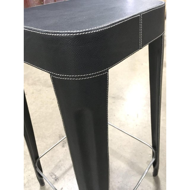 Made Goods Black Leather Counter Stool For Sale - Image 4 of 6