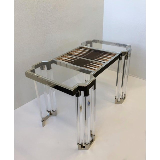 2010s Lucite and Polish Nickel Backgammon Table by Charles Hollis Jones For Sale - Image 5 of 11