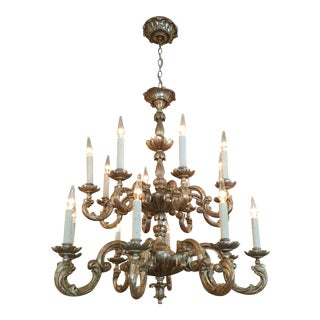 18th C Style Carved Italian Gilt Wood Chandelier by Randy Esada Designs for Prospr For Sale