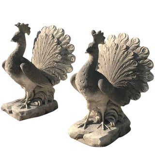 20th Century Limestone Peacocks - a Pair For Sale