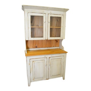 Farmhouse Primitive Style Custom Painted Step Back Cupboard For Sale