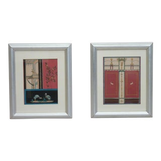 Silver Framed Pompeian Prints - A Pair For Sale