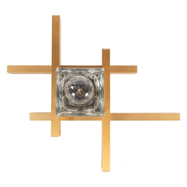 Mid-Century Modernist Flush Mount Brass and Cubed Glass Fixture by Sciolari For Sale - Image 9 of 9
