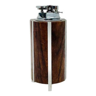 Mid-Century Modern Teak & Steel Table Lighter For Sale