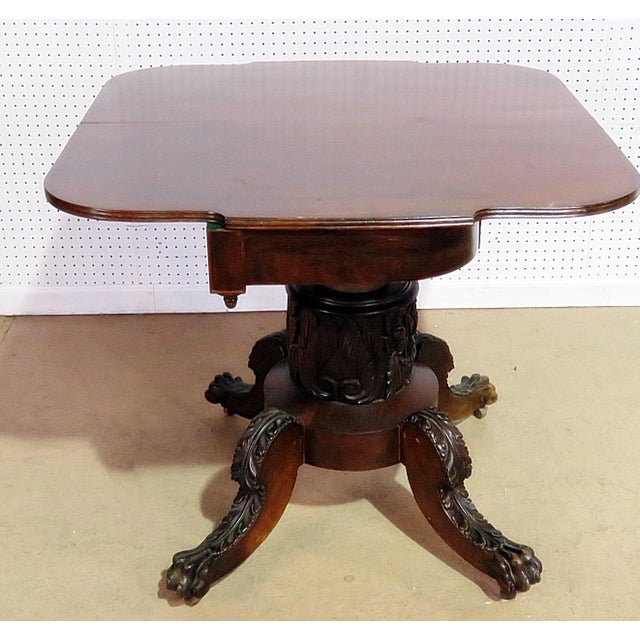Empire Antique Traditional Duncan Phyfe Style Card Table For Sale - Image 3 of 10